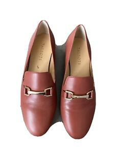 Talbots Ruddy Brown Leather Clasp Loafers Shoes 8.5 M
