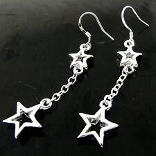 EARRINGS REAL 925 STERLING SILVER S/F LADIES HOOK LONG DROP DANGLY STAR DESIGN