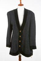 NWT MAGASCHONI Womens Blazer 14 Ink Black Curly Wool/Poly Velvet x Tracy Reese