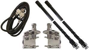 ProComm HSD995-4B 4' Dual Black Fiberglass CB Radio Antenna Kit w/Mirror Mounts