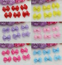 LOT 10PC DIY Pearl Lace bow Satin Ribbon Appliques Wedding festival Bowknot