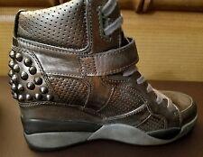 Ash Freak piombo leather Studded Wedge Sneakers EU39  US9 High Tops Platform