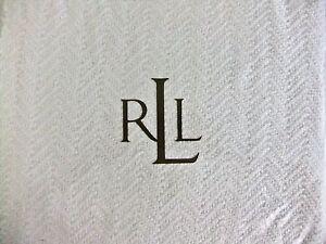 NIP $120 Ralph Lauren TWIN Bed Blanket Indigo Modern White Woven 100% Cotton