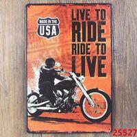 Live To Ride Motorcycle Metal Tin Sign BAR PUB Garage Retro Wall Decor US Seller