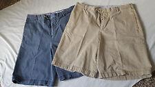2 Pair Mens Kirkland Signature 4 Pocket Zip Button Washed Khaki Casual Shorts 32