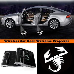 White Scorpion Logo Wireless Car Door Projector Welcome Ghost Shadow Light