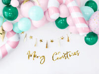 Merry Christmas Bunting Gold Hanging Decorations Tree Rustic Banner Garland
