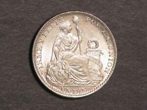 PERU 1903JF 1 Dinero Silver BU