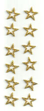 """( One Dozen - 12 ) Open Stars 7/8""""(2cm) Gold Embroidered Iron On Patches"""