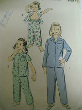 Vintage 50's Advance 7874 TWO-PIECE PAJAMAS Sewing Pattern Toddler Size 2
