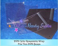 Resealable clear Slim DVD Cello Wrap Bags 100 Pack for 7 mm 1/4 inch box