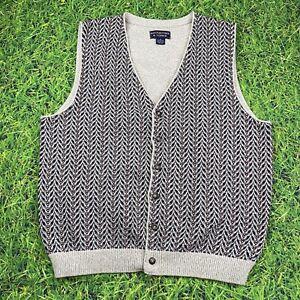 Roundtree & Yorke Vintage y2k Sweater Vest sz XL Button-up Oatmeal Knit Cardigan