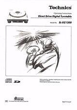 Technics Operating Manual manual de instrucciones para SL-dz 1200