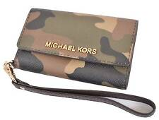 NEW MICHAEL KORS DUFFLE CAMO SAFFIANO LEATHER CELL PHONE WRISTLET WALLET