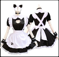 Sexy Women Cat Kawaii Lolita Apron Maid  Dress Coffee Waitress Cosplay Costume