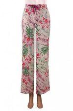 Wide Leg Linen Not Relevant Regular Size Trousers for Women