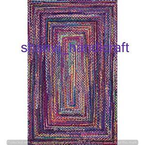 Natural Braided Rag Rugs 100% Cotton 2x3 Feet Floor Area Rug Bedroom Rugs Carpet