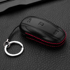 4D Genuine Leather Stitching Key Fob Case Cover Shell Holder for Tesla Model X