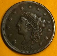 1838 N-6 Med Date Coronet or Matron Head Large Cent LG0001