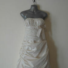 Women's Size 10 Mikaella Wedding Dress Ivory Strapless Bridal Blue Bird 32/34
