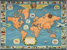 1937 Antique Map POSTER Famous flights and air routes the world 11012000