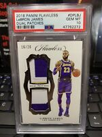 2018 PANINI FLAWLESS LeBRON JAMES 1st LAKERS PATCHES GAME JERSEY PSA 10 POP 1 📈