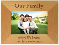 PERSONALISED FAMILY PHOTO FRAME LOVE NEVER ENDS ANNIVERSARY CHRISTMAS MUM GIFT
