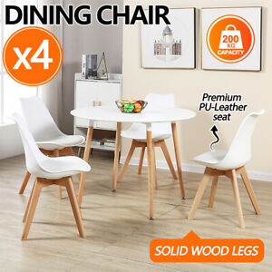 4x Dining Chairs Kitchen Table Chair Lounge Room PU Wood Retro Padded Seat
