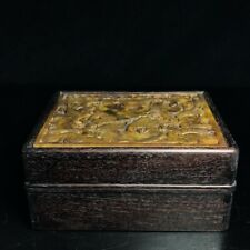 """7"""" Chinese old antique Sandalwood inlay jade louts flowers bird box statue"""