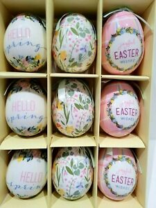 Easter Floral HELLO SPRING Pink Blue Tree Egg Ornaments Home Decor Set of 9