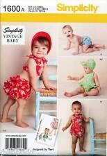 SIMPLICITY SEWING PATTERN 1600 BABY XXS-L VINTAGE ROMPER BIKINI PANTIES & BONNET