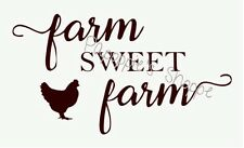 Farm Sweet Farm Stencil in Script Chicken Font Signs Pillows Wall Hangings