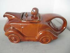 Art Deco style T42 Racing Car Teapot In Brown Glaze