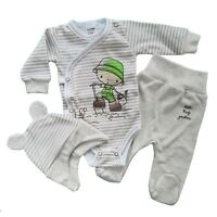 Baby Boys 3 Pcs Outfit/Set Bodysuit Trousers Hat *Newborn *0-3 *3-6 Months