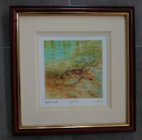 Framed Signed by artist Limited Edition Print Golden Dawn Fishing Angler Fish