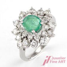 Ring 14K/585 WG - 1 Smaragd + 26 Diam. ca. 0,80 ct W/SI - 4,5 g Gr .53,5