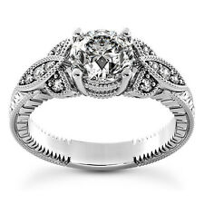 1 Carat Round Cut Diamond Enhanced Engagement Ring D/SI2 14K White Gold