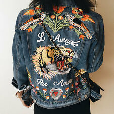 Women's Embroidery Denim Jackets Tiger Butterfly Flower Bird Pattern Jean Coat