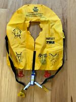 Vintage 1987 TWA AIRLINES yellow LIFE VEST Preserver DEMO Floatation Device