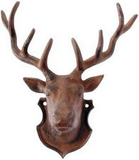 Vintage Taxidermy Metal Cast Iron Deer Head Antler Hanging Wall Home Cabin Decor