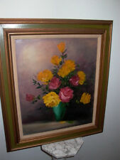 Framed Oil on Canvas Floral Red Yellow Roses Flowers Vase Painting Signed Claire