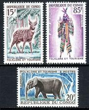 Congo PR 123-125, MNH. Sitatunga (Antelope), Elephant, Dancer on Stilts, 1965