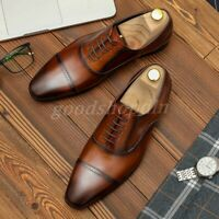 Vintage Mens Genuine Leather Brogue Wingtip Shoes Lace Up Dress Business Oxfords