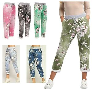 Womens Ladies Floral Print Italian Trousers Jogging Bottom Pants Casual Joggers