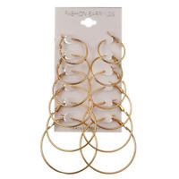 6Pairs/1Set Round Hoop Dangle Geometric Circle Earrings Women Jewelry*H