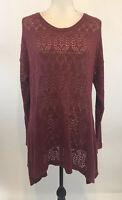 Torrid Size 2 Knit Sweater Open Weave Rust Brown Asymmetrical Hem Cotton