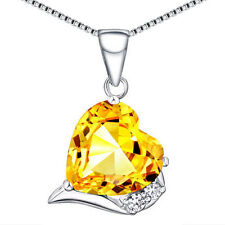Sterling Silver 6.06 Ct Created Citrine Heart Shaped Gemstone Pendant Necklace