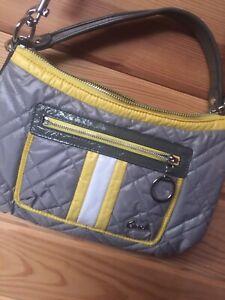 Coach Grey/Yellow Quilted Nylon POPPY SKI BUNNY Bag Authentic M1093-15871