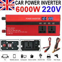 1500/6000W Caravan Power Inverter DC 12V to AC 220V Converter 4 USB 3 Socket UK
