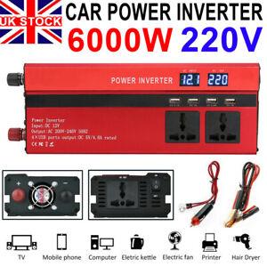 1500/6000W Caravan Power Inverter DC 12V to AC 220V Converter 4 USB 3 Socket UK